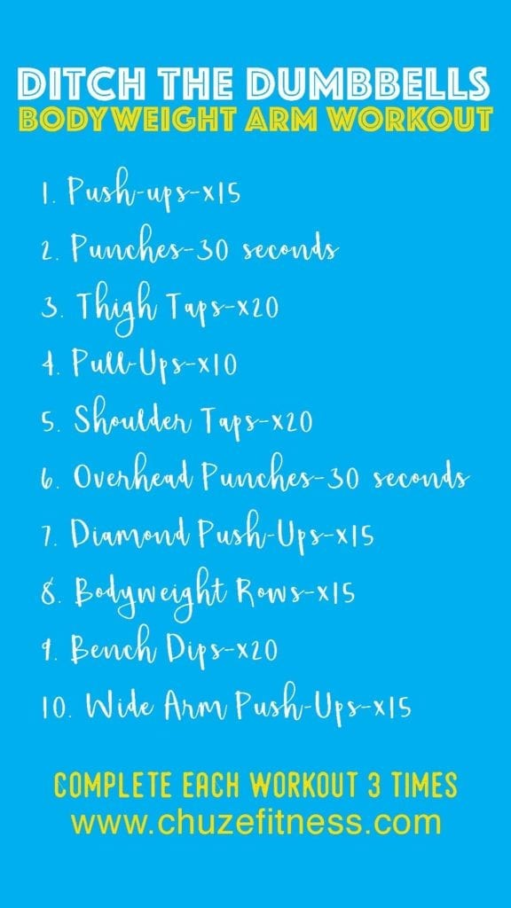 Chuze Fitness Bodyweight Arm Workout Image (List of workouts)
