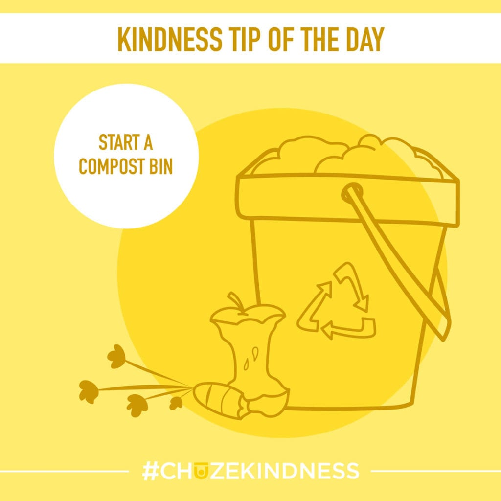 "Yellow Kindness Tip Of The Day Graphic with a compost bin and apple core that says, ""Start a compost bin."""