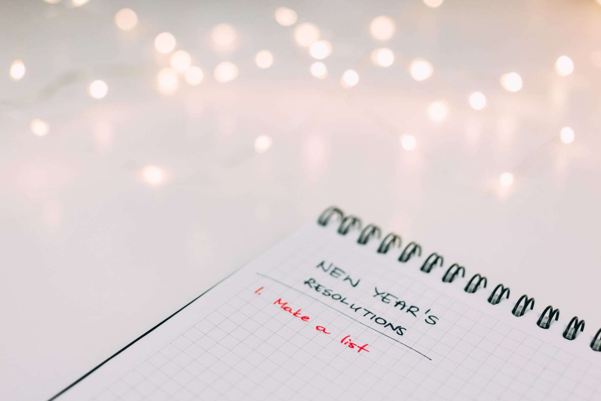 New Year's Resolutions list in notebook